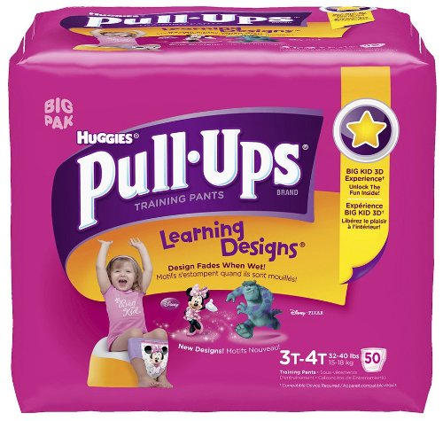 Huggies Pull-Ups Training Pants For Girls With Learning Designs Biggie Pack 3T-4T, 50 CT (Pack of (Biggie Pack)