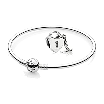 de396063d Original Pandora Gift Set, 1 Silver 590713-21 and 1 Silver Charm Key to My  Heart 790971: Amazon.co.uk: Jewellery