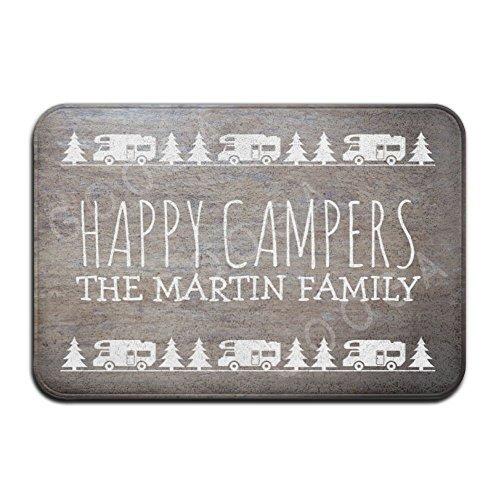 Rustic Wood Personalized Camping Happy Campers Super Absorbent Anti-Slip Mat Indoor/Outdoor Decor Rug Doormat 24x16 Inch Home Decor