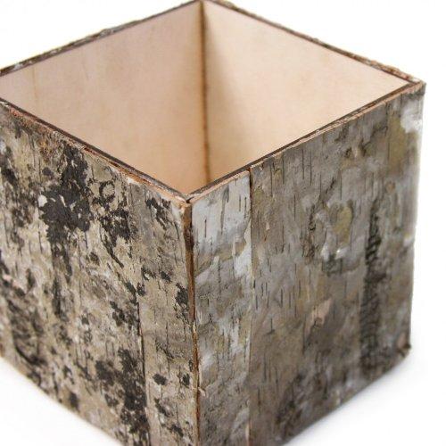 Koyal Wholesale 5'' Natural Birch Bark Cube Vase, 12-Pack