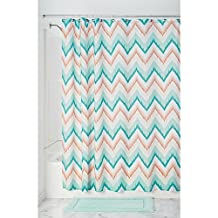 InterDesign Ikat Chevron Fabric Shower Curtain, Coral and Teal