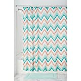 Pink and Turquoise Shower Curtain InterDesign Ikat Chevron Fabric Shower Curtain, Coral/Teal