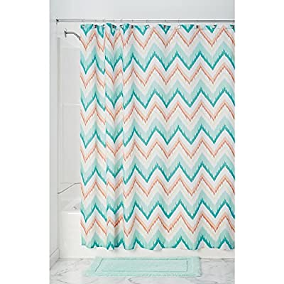 InterDesign Ikat Chevron Fabric Shower Curtain, Coral/Teal - Machine washable, easy care Use of liner recommended, Check out InterDesign's extensive liner collection. 12 reinforced button-holes with a reinforced top-header - shower-curtains, bathroom-linens, bathroom - 51Uy8mxecSL. SS400  -