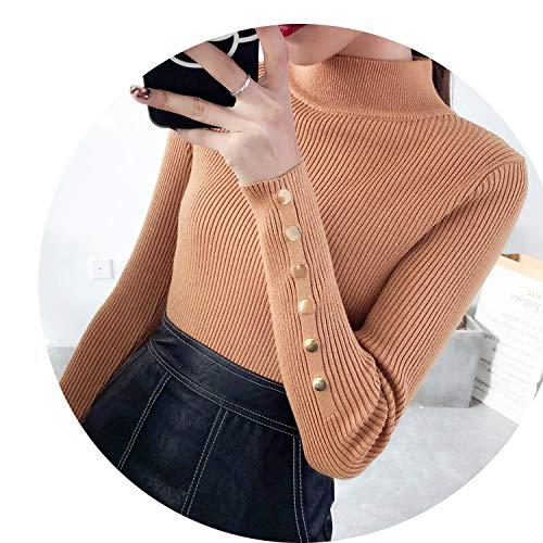 Polypropylene Necklace Girls - SweaterHalf downneck Female thickeningsweater Slim All-Match Elastic Knit Fashion Slim Sweaters,Khaki,XL