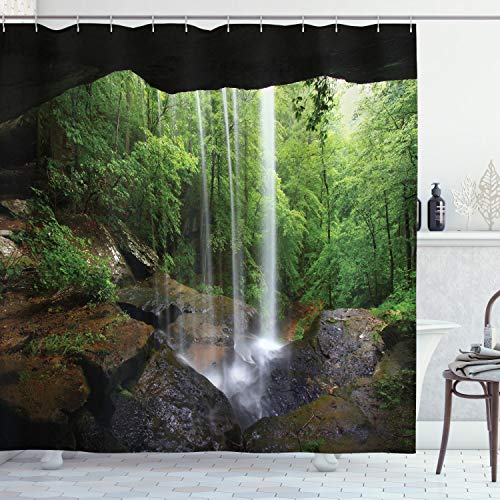 Ambesonne Natural Cave Shower Curtain, Still Waterfall in The Forest in Northern Alabama Habitat Ecosystem Scenery, Cloth Fabric Bathroom Decor Set with Hooks, 84