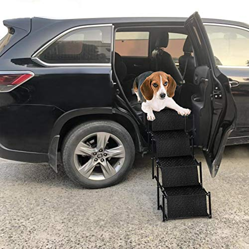 Pet Dog Car Step Stairs for Back Seat Side Entry, Accordion Metal Frame Folding Pet Ramp for Vehicle Back Door, Lightweight Portable Auto Large Dog and Cat Ladder for Cars, Trucks and SUVs