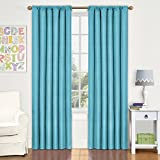 Eclipse Kids Kendall Room Darkening Thermal Curtain Panel,Turquoise,84-Inch
