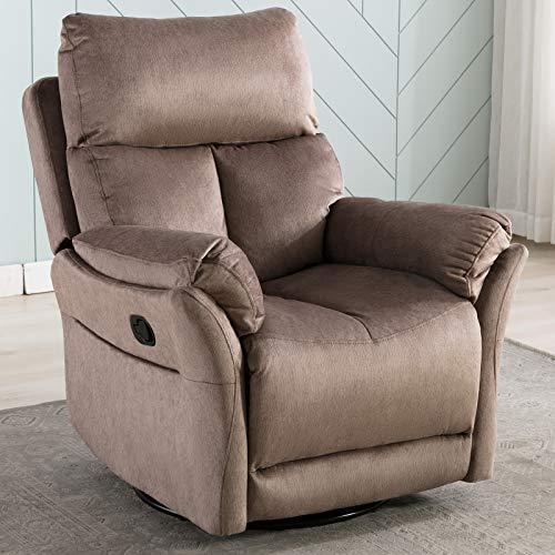 ANJ Swivel Rocker Recliner Chair - Reclining Chair Manual, Single Modern Sofa Home Theater Seating for Living Room, Mocha