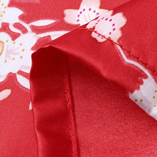 Ywoow ❤ Toddler Baby Kid Girls Floral Silk Satin Kimono Robes Bathrobe Sleepwear Clothes (18-24 Months, Red) by Ywoow (Image #6)