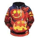 iLXHD Mens Scary Halloween Pumpkin 10D Print Party Long Sleeve Hoodie Top Blouse(Orange2,2XL