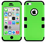 iPhone 5C Case, MagicMobile® Hybrid Impact Shockproof Cover Hard Armor Shell and Soft Silicone Skin Layer [ Green - Black ] with Free Screen Protector / Film and Pen Stylus