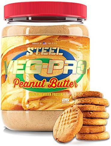 Steel Supplements Veg-PRO Vegan Protein Powder, Peanut Butter – Organic Pea Protein Powder, Gluten Free, Dairy Free, Soy Free, Non GMO, BCAA Amino Acid (25 Servings, 1.65lbs)