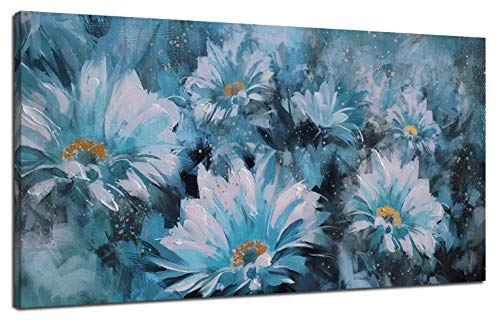 "Canvas Wall Art Prints Blue Flowers Modern Floral Abstract Daisy Painting with Hand-Painted Embellishment One Panel Large Wooden Framed Picture for Living Room Bedroom Home Office Décor 40""x20"""
