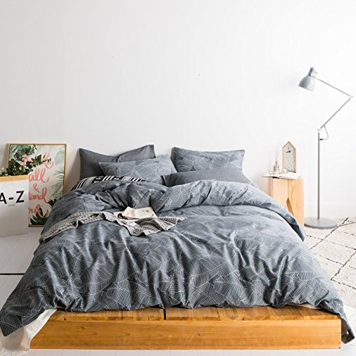 SUSYBAO 3 Pieces Duvet Cover Set 100% Natural Cotton Queen Size Grey Botanical Leaves Print Bedding Set 1 Duvet Cover 2 Pillowcases Hotel Quality Soft Breathable Comfortable Durable with Zipper ()