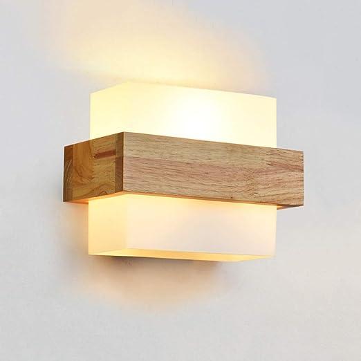 Meidn Art minimalista estilo japonés aplique de pared de madera aplique de pared for el hogar aplique de vidrio de pared LED lámpara de noche escalera pasarela luz de fondo: Amazon.es: Hogar