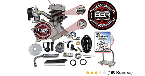 66/80cc Flying Horse Silver Angle Fire Bicycle Engine Kit - 2 Stroke