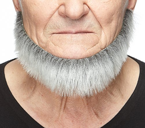 Mustaches Self Adhesive, Novelty, Morman Fake Beard, False Facial Hair, Costume Accessory for Adults, Gray with White Color -