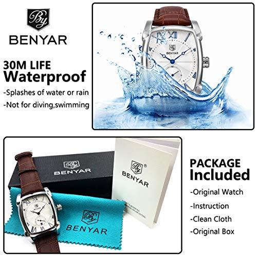 Classic Retro Rectangle Watches Men Brown Genuine Leather Men's Watch Quartz Business Wrist Watch for Men…