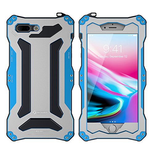 Feitenn iPhone 8 plus Metal Shockproof case Hybrid Armor Alloy Aluminum Metal Bumper case Double Silicone Gorilla glass Sturdy Hard Metallic Military Heavy Duty Case for iPhone 8 plus (Blue) (Glass Gorilla Aluminum Metal Case)