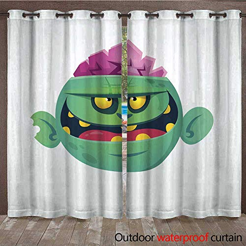 RenteriaDecor Outdoor Curtains for Patio Sheer Funny and Cool Green Zombie Cartoon Halloween Character Vector Illustration W108 x L84]()