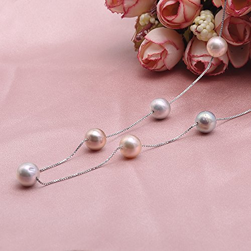 JYX Sterling Silver 8mm Colorful Freshwater Cultured Pearl Necklace 18'' by JYX Pearl (Image #3)