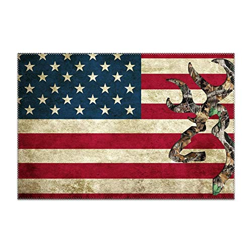 SHUIZHIQING Non-Slip Insulation Deer Camo American Flag Placemat Washable Table Mats Easy to Clean ()