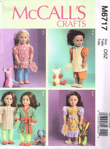 McCall Patterns M6717 Clothes for 18-Inch Doll Mask, Slippers and Toy Sewing Template, One Size Only