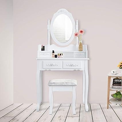 wolketon schminktisch mit 1 spiegel und 4 schubladen kosmetiktisch frisierkommode frisiertisch spiegel mit polsterhocker sitzhocker hohe qualität  spiegel hochwertige qualitat klasse design #6