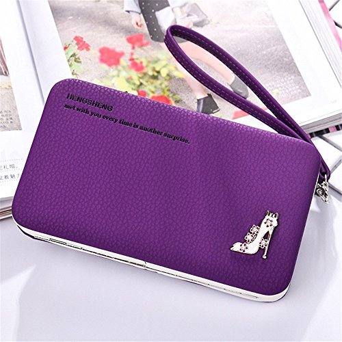 Clutch Color Sac Mobilephone à Purple Sac bandoulière de Long Purple Main Lady Zero à l'étudiant Wallet q77IOxp