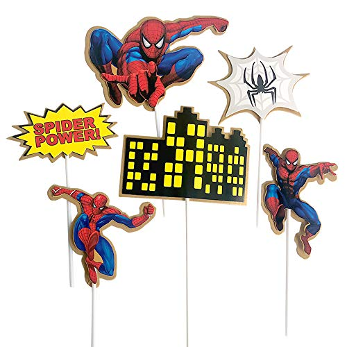 Spider Man Cake (Spiderman Cake Toppers for Kids Birthday 6 pcs)