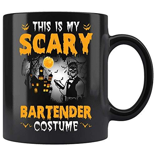 Coffee Mug This Is My Scary Bartender Costume Coffee Mug Halloween Gifts Ceramic (Black, 11 OZ) -