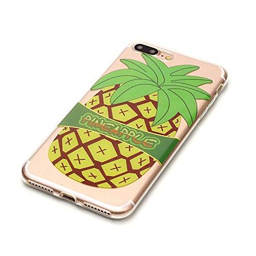 iPhone 8 Plus Coque,Ananas jaune Premium Gel TPU Souple Silicone Transparent Clair Bumper Protection Housse Arrière Étui Pour Apple iPhone 8 Plus + Deux cadeau