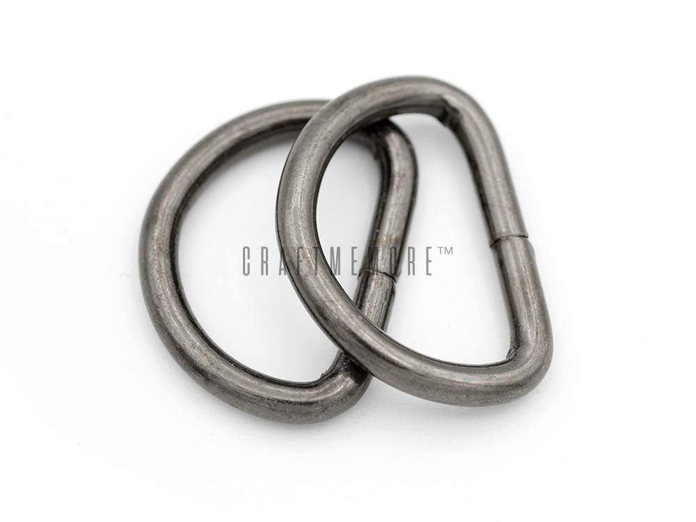 CRAFTMEmore 3/4 & 1 Inch D-Ring Findings Metal Non Welded D Rings for Belts Bags Landyard Leathercraft Avail 4 Colors (3/4'' x 100 Pack, Gunmetal) by CRAFTMEmore Loops & Sliders