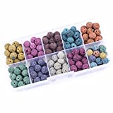 180PCS 8mm Colored Lava Stone Beads Round Rock Beads Loose Beads Volcanic Gemstone for Bracelet Necklace Jewelry Making