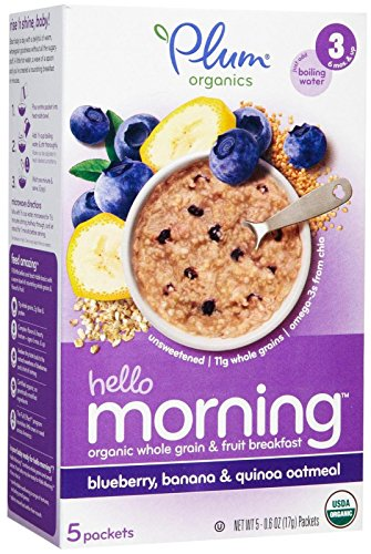 Plum Organics Stage 3 Hello Morning-Blueberry, Banana and Oatmeal-3 Ounces-6 Pack