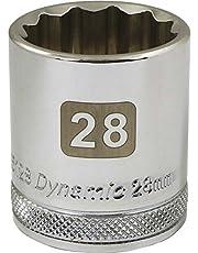 Dynamic Tools 1/2-Inch Drive 12 Point Metric, 28-Millimeter Standard Length, Chrome Finish Socket