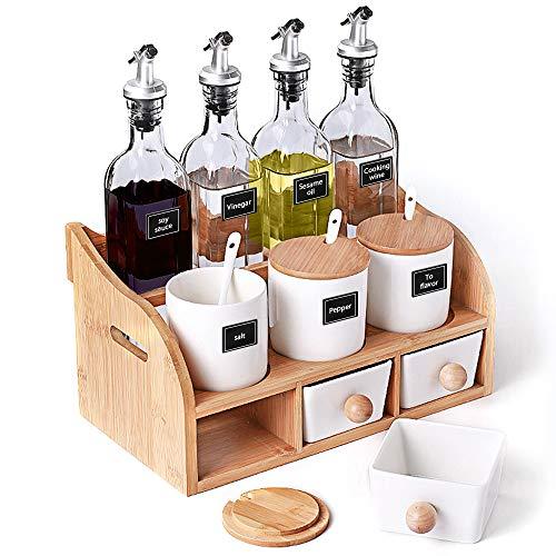 JPFS Porcelain Condiment Container Spice Jars Vinegar Jar Wooden Holder Set For Oil Seasoning Vinegar Sauce Cooking Wine In Kitchen