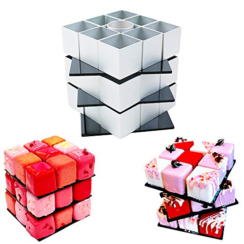 Rubiks Cube Cake Mold - DIY Cookie Cutters Baking Supplies Cake Decorating Kit - Rotate Magic Cube Aluminum Alloy Molds - 3D Chocolate Fondant Pastry Dessert Mold for Birthday Party Festival