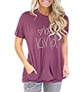 Unidear Womens Casual Short Sleeve Tee Top Round Neck Loose Graphic T-Shirt