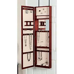 Amazon.com: Mirrored Jewelry Armoire, Over the Door Mirror ...