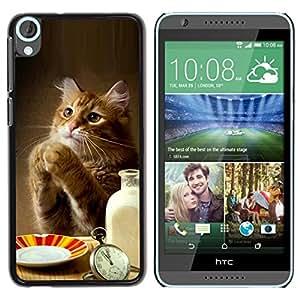 Be Good Phone Accessory // Dura Cáscara cubierta Protectora Caso Carcasa Funda de Protección para HTC Desire 820 // Cat Cute Funny Paws Table Food Milk Ginger