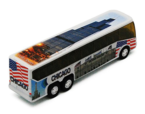 Chicago Tour Coach Bus with Willis Tower Soldier Field & Navy Pier 1:64 (Pier Tower)