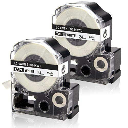 Absonic Label Tape Cartridge LC-6WBN9 LK-6WBN Compatible for Epson LW-600 LW-800 LW-900P LW-1000P LabelWorks (1 x 26, 24mm x 8m, Black on White) - 2 Pack