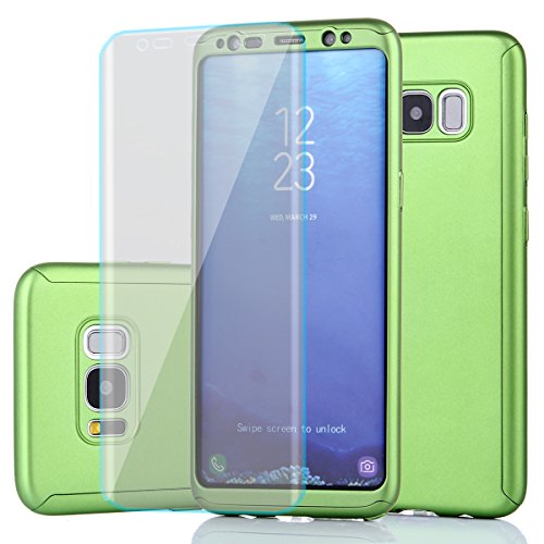 Price comparison product image Samsung Galaxy S8 Case,Full Body Protection Ultra-Thin Hard PC Case With A Soft HD Screen Protector 360 All Round Anti Scratch Removable Hybrid Cover For Galaxy S8 (Green)
