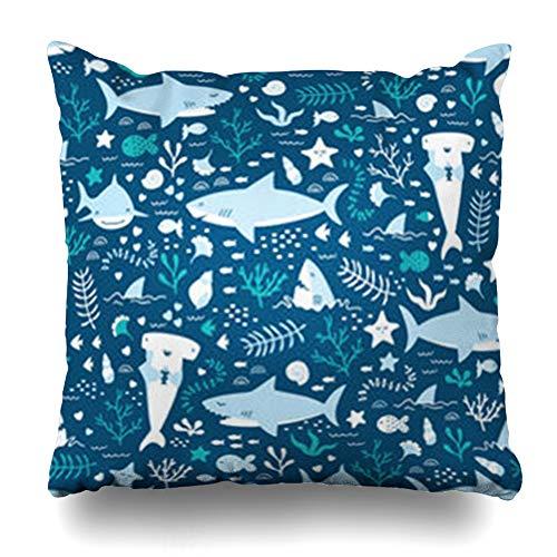 DaniulloRU Throw Pillow Covers Aqua Blue Sea Underwater Pattern Cute Sharks Wildlife Summer Navy Life Ocean Marine Happy Star Shark Home Decor Sofa Cushion Cases Square Size 16 x 16 Inches Pillowcase
