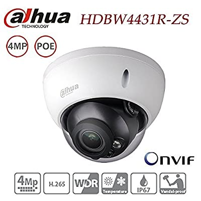 Dahua Dome Camera HDBW4431R-ZS 4MP IP Camera Varifocal Motorized Zoom 2.7-12mm lens POE Waterproof Outdoor Network Security Surveillance System IP67 IK10 ONVIF H.265 H.264 International Version by David CCTV Camera