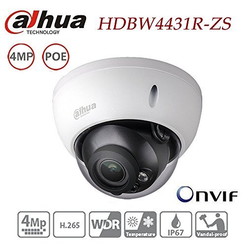 Dahua Dome Camera HDBW4431R-ZS 4MP IP Camera Varifocal Motorized Zoom 2.7-12mm lens POE Waterproof Outdoor Network Security Surveillance System IP67 IK10 ONVIF H.265 H.264 International Version by Amazinipc