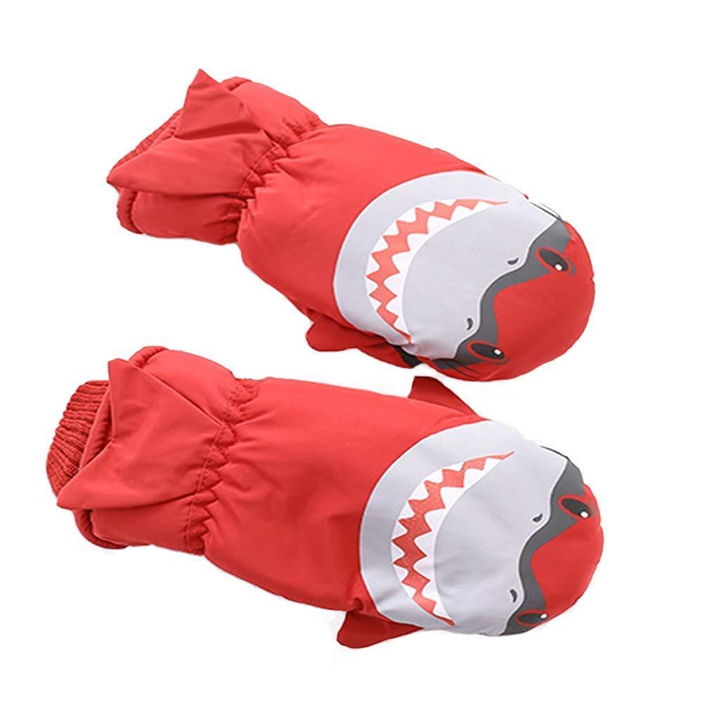 7-Mi Kids Winter Water-resistant Ski Gloves Shark Warm Outdoor Sport Nylon Mitten for 3-6Y Windproof Nylon Winter Shark Mitten for 3-6Y Girls Boys