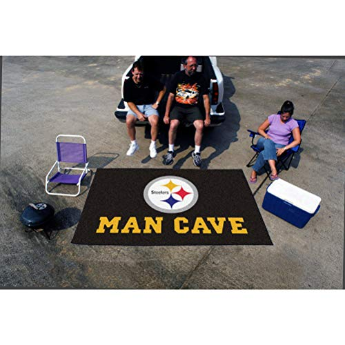 5'x8' NFL Steelers Mat Sports Football Area Rug Team Logo Printed Large Mat Floor Carpet Bedroom Living Room Tailgate Man Cave Home Decor Athletic Game Fans Gift Non-Skid Backing Soft Nylon, Black ()