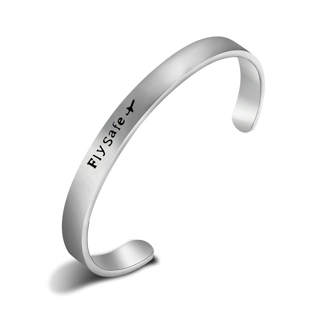 REEBOOO Flight Attendant Gift,Fly Safe Bracelet,Airplane Jewelry,Travel Jewelry (Silver Bracelet)